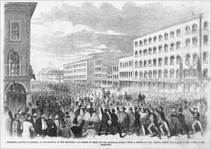 The crowd on Main Street, Buffalo to greet President-Elect Lincoln on February 16, 1861