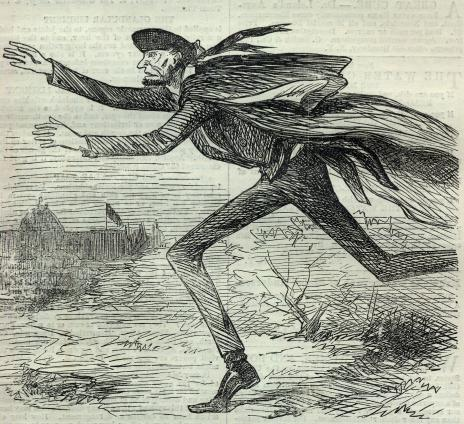 "HARPER'S WEEKLY. [MARCH 9, 1861. 160  THE FLIGHT OF ABRAHAM. (As reported by a Modern Daily Paper.) (1.) THE ALARM. ""On Thursday night, after he had retired, Mr. LINCOLN was aroused, and informed that a stranger desired to see him on a matter of life and death. * * * A conversation elicited the fact that an organized body of men had determined that Mr. LINCOLN should never leave the City of Baltimore alive. * * * Statesmen laid the plan, Bankers indorsed it, and Adventurers were to carry it into effect "" (2.) THE COUNCIL. ""Mr. LINCOLN did not want to yield, and his friends cried with indignation. But they insisted, and he left."" (3.) THE SPECIAL TRAIN. "" He wore a Scotch plaid Cap and a very long Military Cloak, so that he was entirely unrecognizable."""