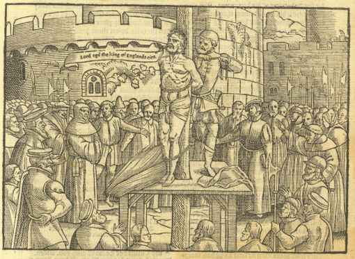 """The description and manner of the burning of Paister Wylliam Tyndall"" from Foxe's Book of Martyrs (Actes and Monuments of these latter and perillous dayes, touching matters of the Church, ... by John Foxe (London: John Day: 1563), p. 519."
