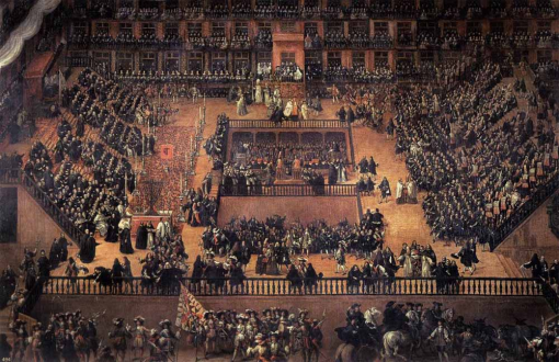 Auto-da-fe on Plaza Mayor, Madrid by Francisco Rizi. (Oil on canvas. 1683. Museo del Prado, Madrid.)