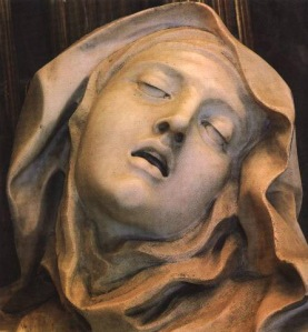 Mysticism and the erotic in Theresa's passion. The head of Bernini's Ecstasy of Saint Teresa. (Marble sculpture. 1652. Cornaro Chapel, Santa Maria della Vittoria, Rome.)
