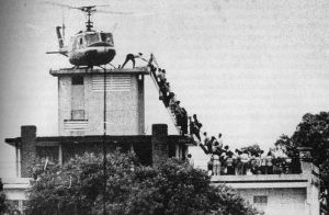 Le déluge: Air America's desperate withdrawal of CIA staff from the top of the Presidential Palace in Saigon on April 29, 1975 (Photo: Hubert van Es / UPI.) Click to enlarge.