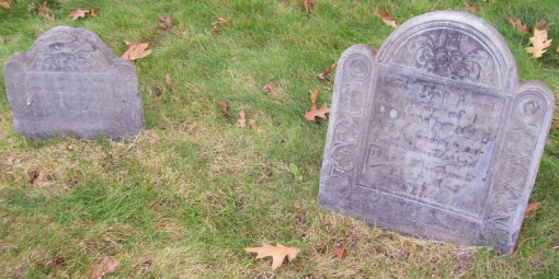 Headstones of Robert (right) and son (?) Daniel (1691-1712) at Eliot Burying Grounds, Roxbvury, Massachusetts. Robert's inscription reads: