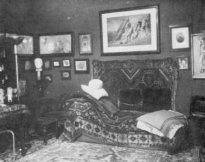 Freud's consulting room at Berggasse 19, Vienna. (One of the clandestine photographs by Edmund Engelmund in 1938.)*