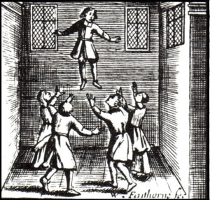 A bewitched child levitated by demons from Joseph Glanvill's Saducismus Triumphatus.