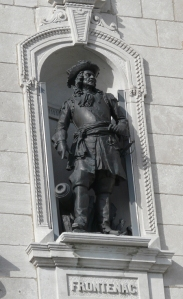 Bronze Statue of Comte de Frontenace (1886) on the facade of the Quebec Parliament Building, Quebec City.
