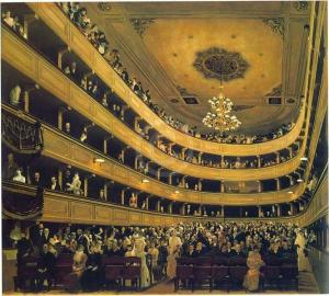 Klimt not only painted the classical theater scenes to decorate the new Burgtheater, he showed the audience of the old one. Aristocrats clamored for special sittings to be immortalized as patrons of the theater. (Shorske at 212 n.*.)The Auditorium of the Old Burgtheater. Oil on canvas by Gustav Klimt (1888) (Historisches Museum Der Stadt Wien, Vienna).