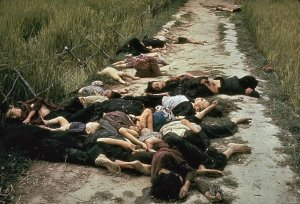 Photo taken by United States Army photographer Ronald L. Haeberle on March 16, 1968 in the aftermath of the My Lai massacre showing mostly women and children dead on a road. Wikipedia.Click to enlarge.