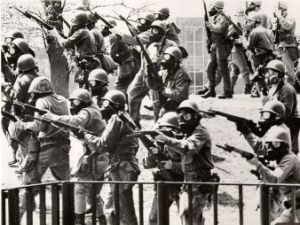 National Guardsmen with fixed bayonets immediately prior to shooting on May 4, 1970 near Taylor Hall, at Kent State Univesity. Click to enlarge.