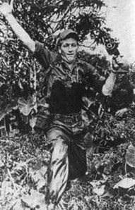 NBC cameraman Neil Davis, worrking solo in Vietnam. Davis was one of a handful of courageous jounalists that brorught the real war into Ameican homes. After the Americans left, he filmed the fall of the Presidential palace in Saigon. A decade later he filmed his own death during a short-lived coup attempt in Bangkok.