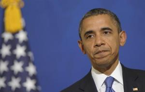"Obama pledges ""non-lethal"" aid to Syrian rebels.(AP Photo/Susan Walsh) Lebanon Daily Star, March 25, 2012."