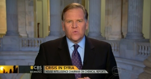 Chairman of House Intelligence Committee Mike Rogers (R-Mich) making the rounds on March 20, 2013, to seek war based on secret intelligence of WMD.