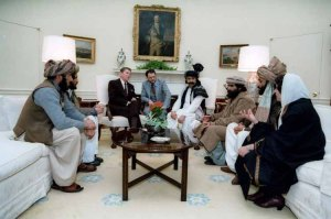 Ronald Reagan with mujahideen at the White House (Reagan Library). We've been down the road of supporting Saudi clients before. What could go wrong?