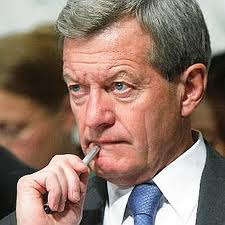 Senator Max Baucus in reflective pose, contemplating on which side his bread is buttered. He has reportedly decided to get out of the cabana, the heat being too hot.
