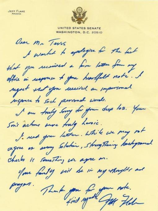 Heartfelt handwritten letter by coward and hypocrite Jeff Flake.