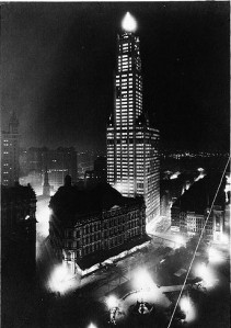 The Woolworth Building in Manhattan at night in 1913. (Library of Congress; from Wiki Commons.)