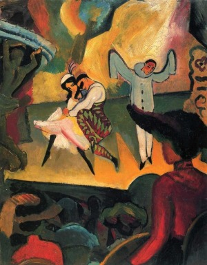 Russisches Ballett (I), oil on canvas by  August Macke (1912) (Kunsthalle, Bremen).
