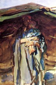 Bedouin Mother by John Sargent Singer. (Watercolor on paper. 190-06. Brooklyn Museum.) Click to enlarge.
