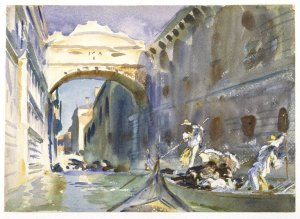 The Bridge of Sighs by John Sargent Singer. (Watercolor on paper. c1903-04. Brooklyn Museum.) Click to enlarge.