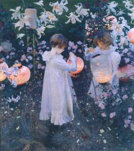 Carnation, Lily, Lily, Rose by John Sargent Singer. (Oil on canvas. 185-86. Tate Britain. (Not in the Brooklyn exhibition.) Fry argued in Transformations that the his and the the critics initial raves were mistaken: the lily petals are