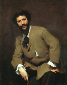 Portrait of Carolus-Duran by John Singer Sargent. (Oil on canvas. 1879. Sterling and Francine Clark Art Institute, Williamstown, Massachusetts.) Not in the Brooklyn exhibition.  (Click to enlarge.)