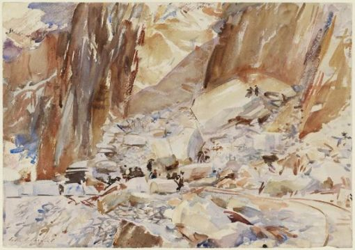 Carrara: The Quarry I by John Singer Sargent. (Watercolor on paper. 1911. Museum of Fine Arts, Boston.)