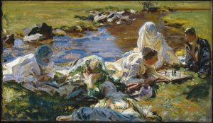 Dolce Far Niente by John Singer Sargent. (Oil on canvas. 1907. Brooklyn  Museum of Art.) This oil is in the watercolors exhibition because illustrating the informal portraits did in watercolor. The scene is as Alpine. There is only one model for the three males in the painting, Sargent's manservant. (Click to enlarge.)