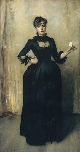 Lady with the Rose (Charlotte Louise Burckhardt) by John Singer Sargent. (Oil on canvas. 1882. Metropolitan Museum of Art.) Not in Brooklyn exhibition. (Click to enlarge.)