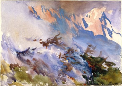 Mountain Fire by John Singer Sargent. (Watercolor on paper. c1903. Brooklyn Museum of Art.)