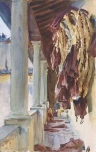 Torre Galli, Wine Bags by John Sargent Singer. (Watercolor on paper. 1910. Museum of Fine Arts, Boston.) Click to enlarge.