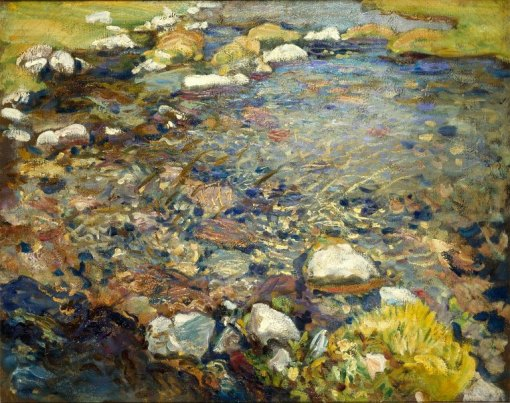 Val d'Aosta (A Stream over Rocks) by John Singer Sargent. (Oil on canvas. c1909. Brooklyn Museum.) Click to enlarge.