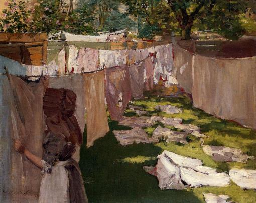Wash Day: A Back Yard Reminiscence of Brooklyn by William Merritt Chase. (Oil on panel. Private collection.) Not in the Brooklyn Exhibition. (Click to enlarge.)