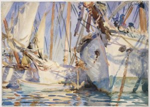 White Ships by John Singer Sargent. (Watercolor on paper. c1908. Brooklyn Museum.) This is the only watercolor from the Brooklyn Museum collection of the Exhibition that shows use of wax resist. (Click to enlarge.)