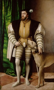 Emperor Charles V with Hound by Jakob Seisenegger. (Oil on caves. 1532. Kunsthistorisches Museum, Vienna.)