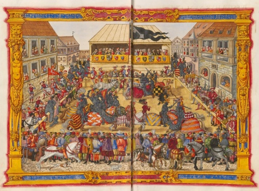 Although in their own ways Henry VIII and Thomas Wyatt brought England into the Renaissance, they both were fond of the past. A feat of arms tournament.