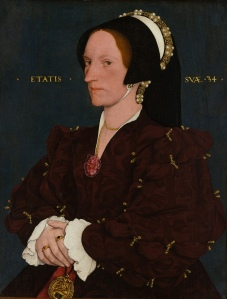 Porträt der Margaret Wyatt, Lady Lee by Hans Holbein the Younger. (Tempera on pan3. 1540. Metropolitan Museum of Art.) Click to enlarge.