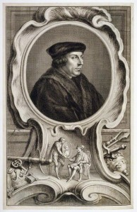 Thomas Cromwell by Jacobus Houbraken, published by John & Paul Knapton, after Hans Holbein the Younger, line engraving, published 1739. (Used with the permission of the National Portrait Gallery, London.) Click to enlarge.