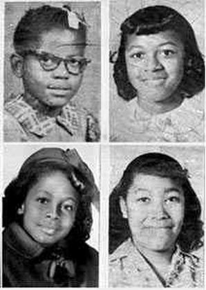 Addie Mae Collins (age 14), Denise McNair (age 11), Carole Robertson (age 14), and Cynthia Wesley (age 14).
