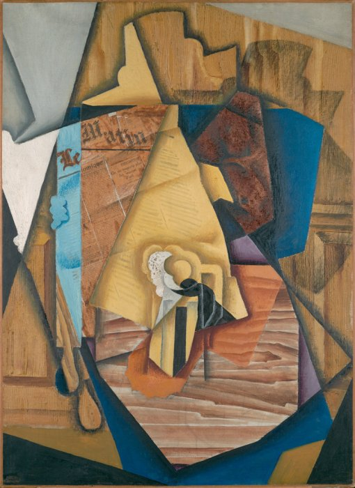 Figure Seated in a Café by Juan Gris. (Oil on canvas. 1914. Part of a donation of a Cubist collection from Leonard Lauder to be installed in 2014 at the Metropolitan Museum of Art.) (1914)