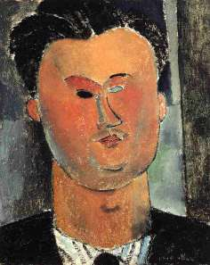 Pierre Reverdy by Amedeo Modigliani. (Oil on canvas. ca. 1915. Private collection.) Click to enlarge.