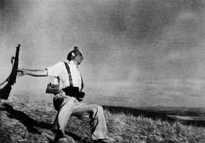 Death of a Loyalist Militiaman, Córdoba Front by Robert Capa. (Gelatin silver print. Late August-Early September 1936. Museum of Modern Art, NY.)