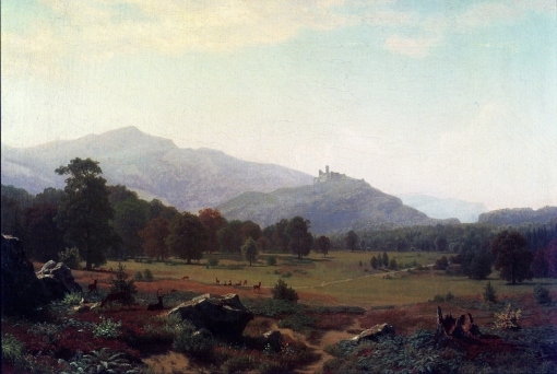 Autumn in the Conway Meadows Looking toward Mount Washington by Albert Bierstadt.* (Oil on canvas. 1858. Estate of Price Family.) * indicates that the work is being shown at the Mattatuck exhibition.