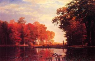 Autumn Woods by Albert Bierstadt.* (Oil on linen. 1886. New York Historical Society.)