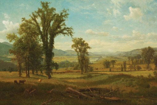 Connectiuct River Valley, Claremont, New Hampshire by Albert Bierstadt.* (Oil on canvas as 1868. Berkshire Museum, Pittsfield, Massachusetts.)