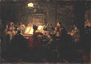 Evening Society by Johann Peter Hasenclever. (Oil on canvas. 1859. Wallraf-Richartz-Museum, Cologne, Germany.)