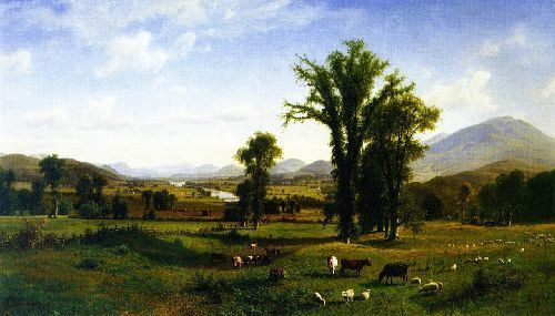 Mount Ascutney from Claremont, New Hampshire by Albert Biertstadt.* (Oil on canvas. 1862. Fruitlands Museum, Harvard, Massachusetts.)