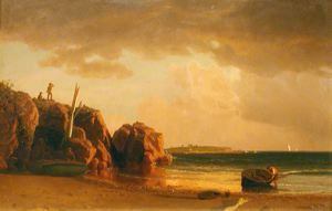 View near Newport by Albert Bierstadt.* (Oil on canvas. 185. Currier Museum of Art, Manchester, N.H.)