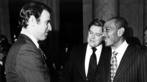 As a recent initiate to the American Foreign Policy Deep State, Senator Joe Biden greets Anwar Al-Sadat (with the Chairman of the Senate Foreign Relations Committee Frank Church) on March 27, 1979. (U.S. Senate Photo Gallery.)