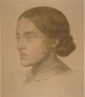 """Rossetti wrote: """"in that land and that period which gave simultaneous birth to Catholics, to Albigenses, and to Troubadours,d one can imagine many a lady as sharing her lover's poetic aptitude, while the barrier between them might be one held sacred by both, yet not such as to render mutual love incompatible with mutual honor."""" Christina Rossetti by Dante Gabriel Rossetti. (Colored chalks on brown paper. ca 1866. Fitzwilliam Museum, Cambridge.)"""