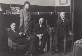 Three artists and a lawyer: from left to right: James Joyce, Ezra Pound, Ford Madax Ford and John Quinn. (Photographer and date unknown. Harry Ransom Center, University of Texas.)